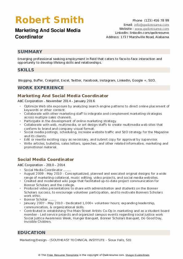 Marketing And Social Media Coordinator Resume Template
