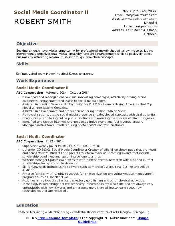 Social Media Coordinator II Resume Example