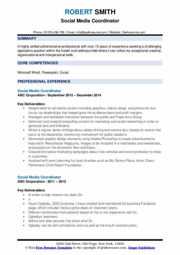 Social Media Coordinator Resume example