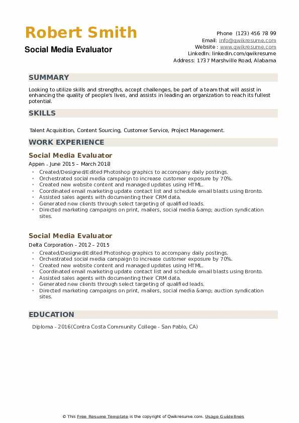 Social Media Evaluator Resume example