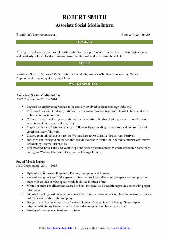 Associate Social Media Intern Resume Template