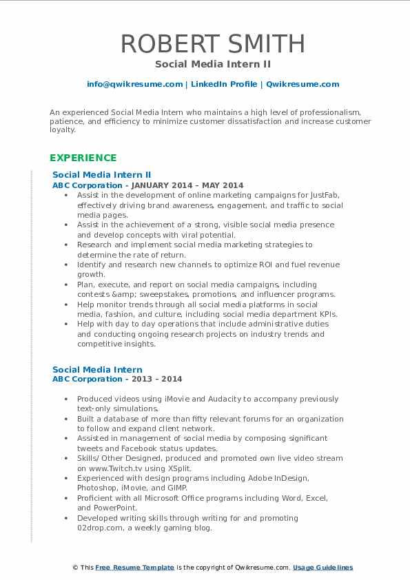 Social Media Intern II Resume Format