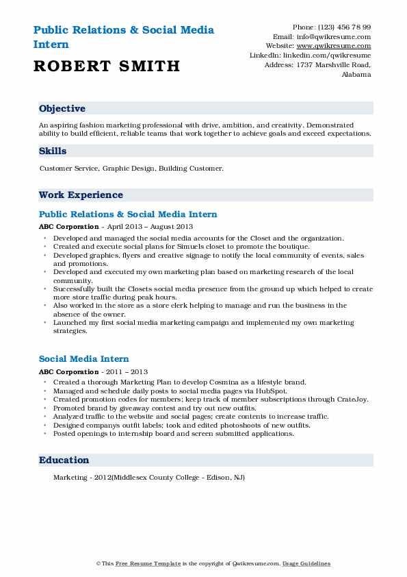 Public Relations & Social Media Intern Resume Example