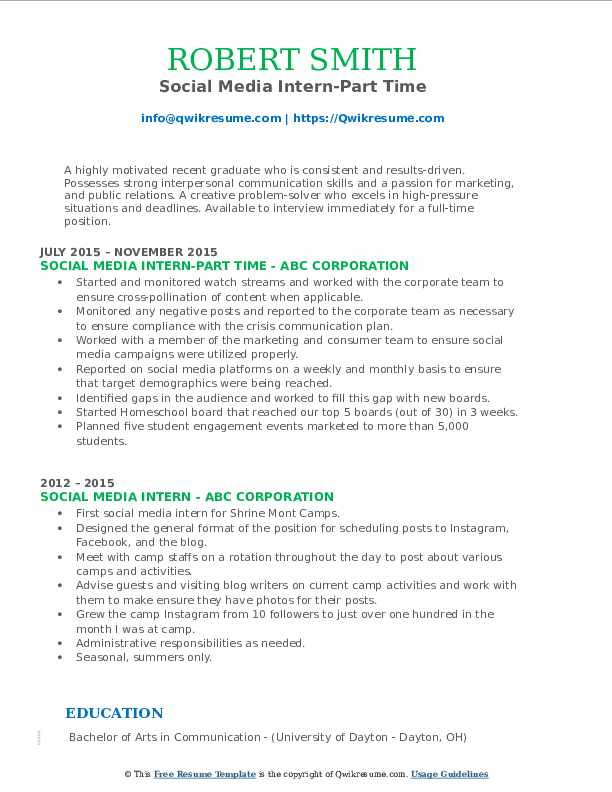 Social Media Intern-Part Time Resume Format