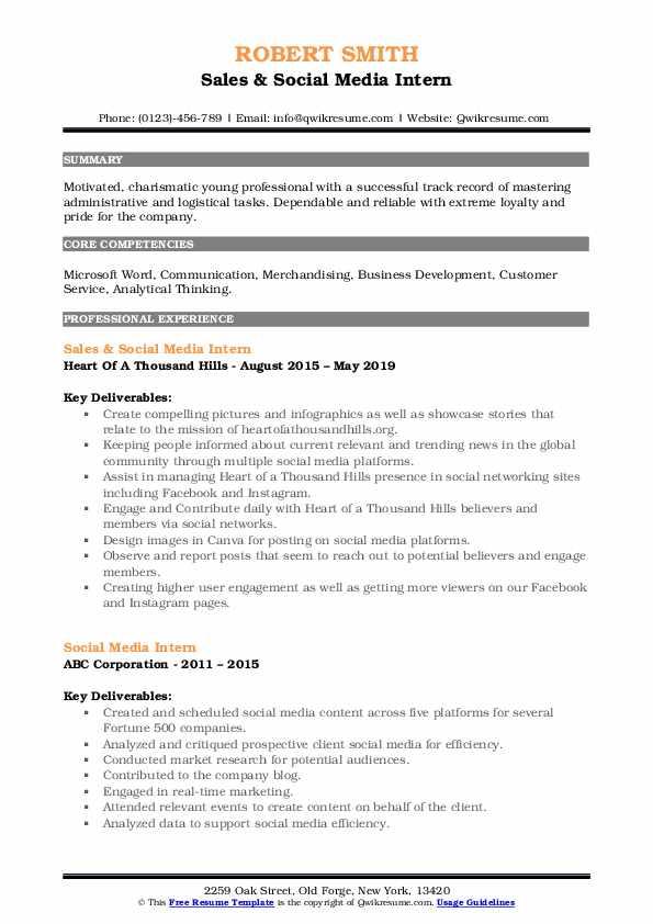 Sales & Social Media Intern Resume Format