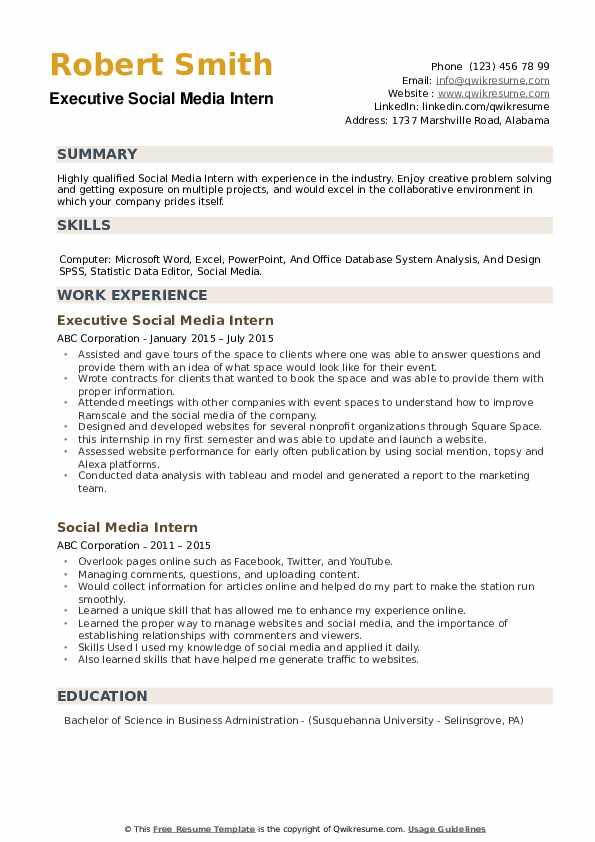 Executive Social Media Intern Resume Sample
