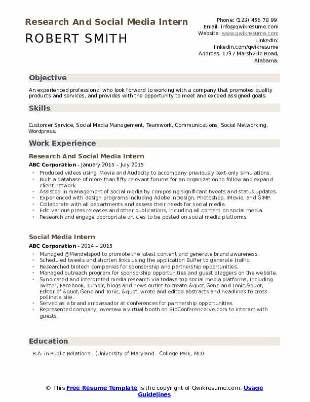 Research And Social Media Intern Resume Model