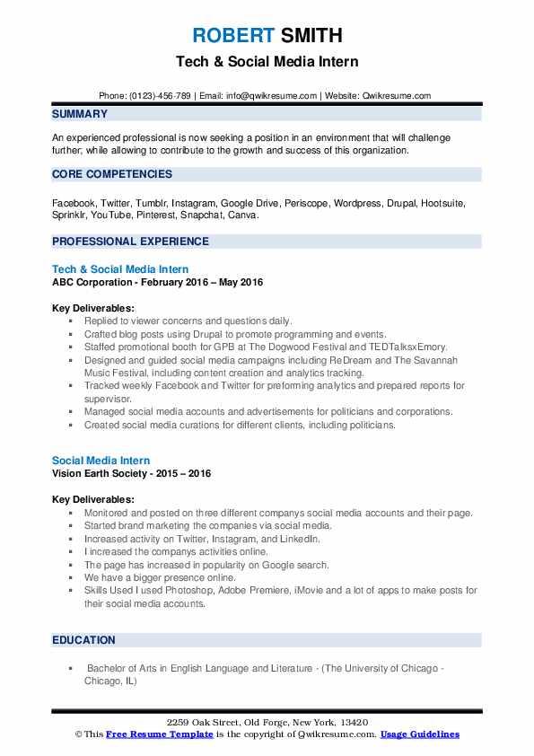 Tech & Social Media Intern Resume Example