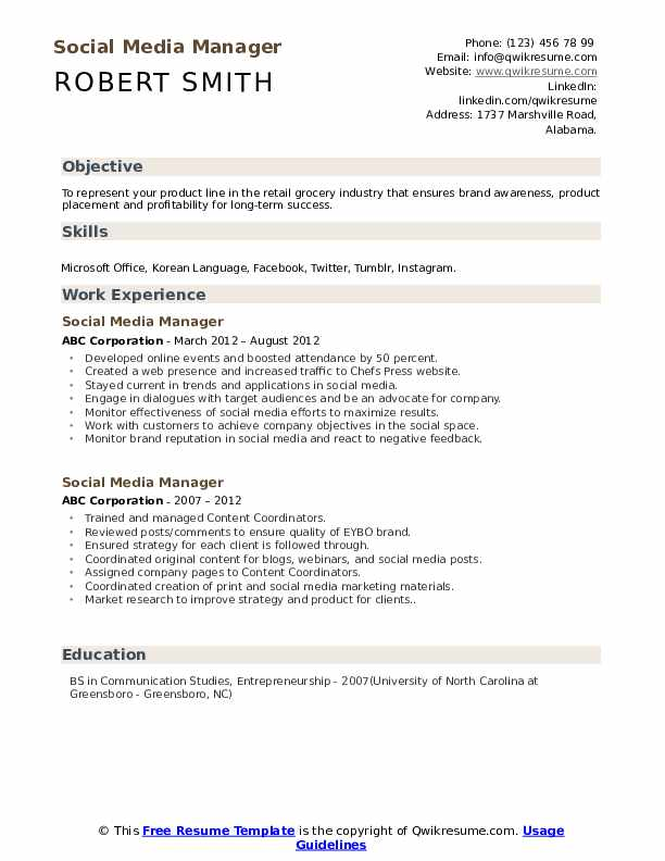 Social Media Manager Resume Samples Qwikresume