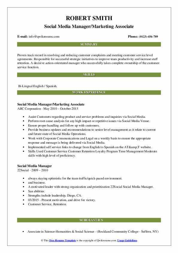 Social Media Manager/Marketing Associate Resume Sample