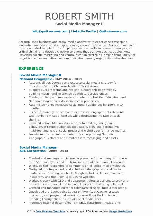 Social Media Manager II Resume Template