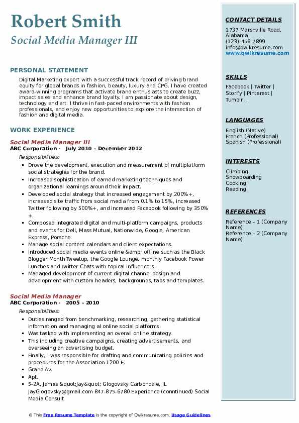 Social Media Manager III Resume Example