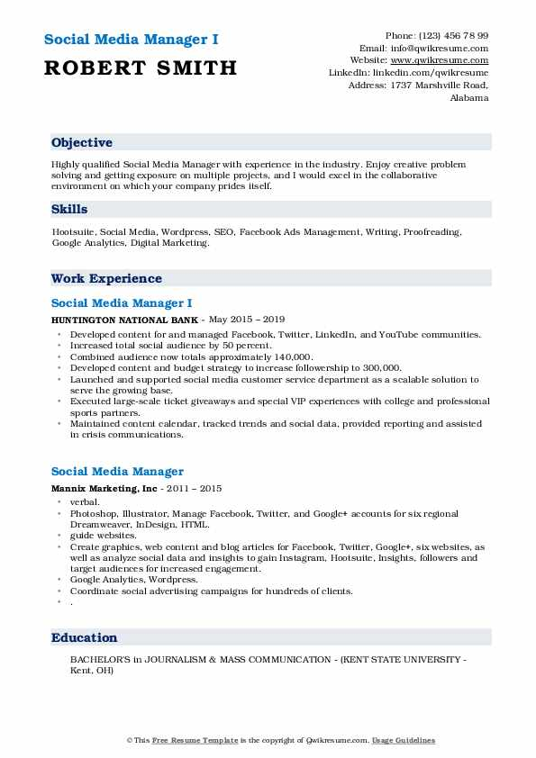 Social Media Manager I Resume Template