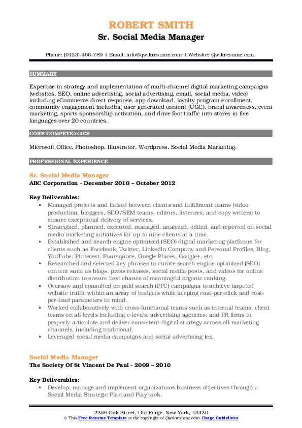 Sr. Social Media Manager Resume Sample