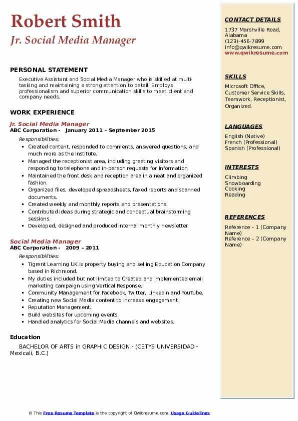 Jr. Social Media Manager  Resume Format