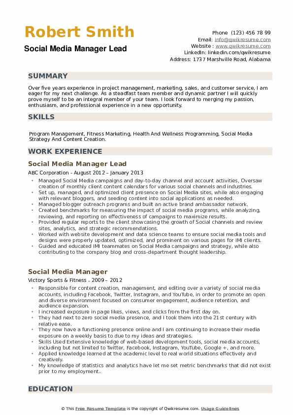 Social Media Manager Lead  Resume Sample