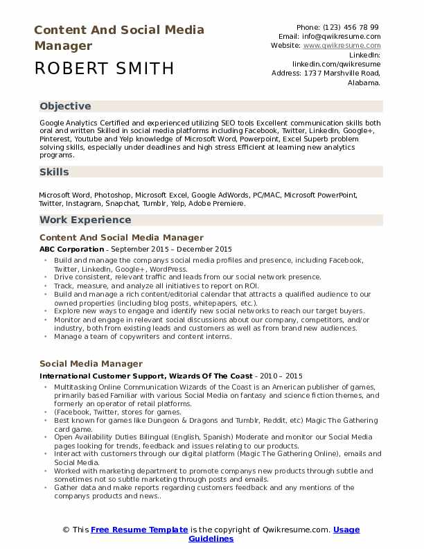 Content And Social Media Manager Resume Format