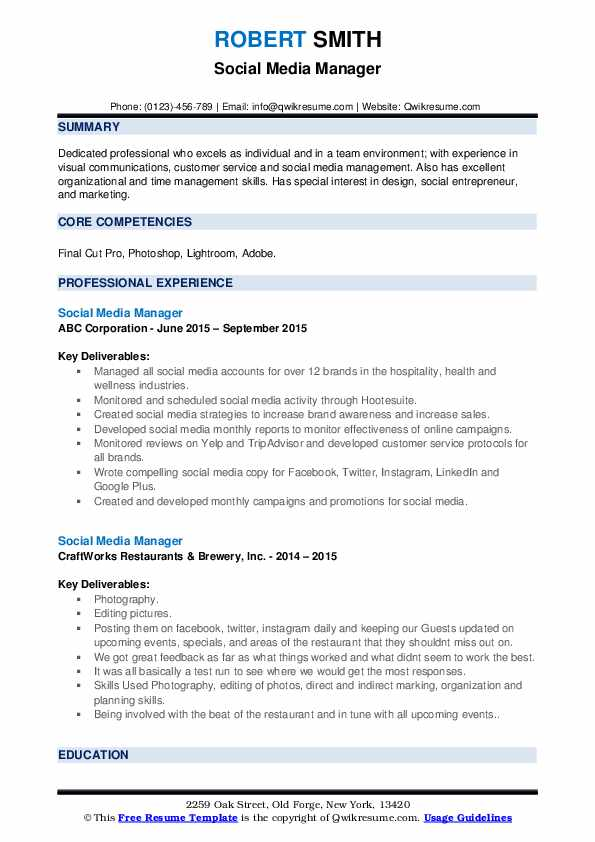 Social Media Manager Resume example
