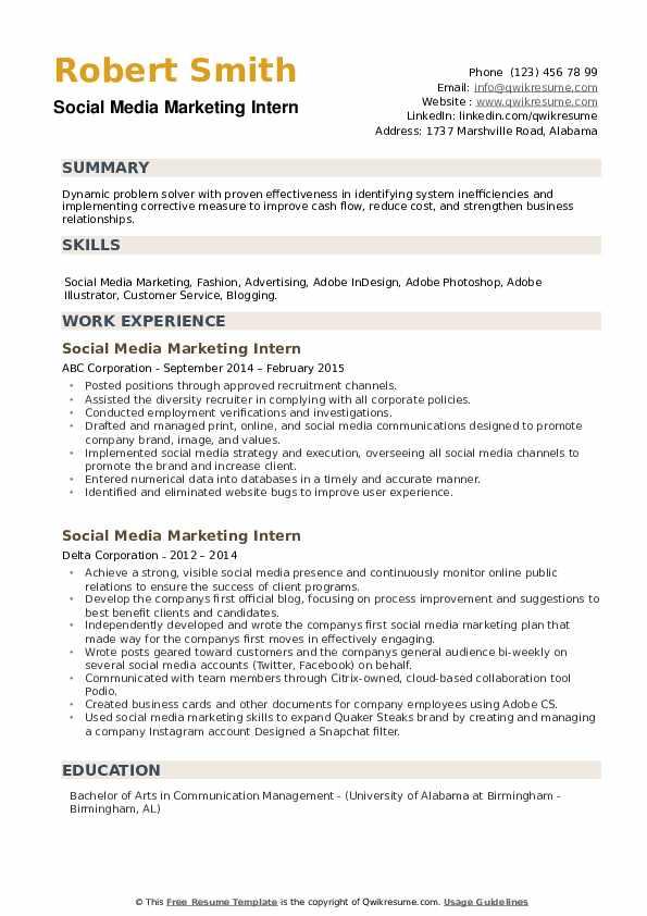 Social Media Marketing Intern Resume example
