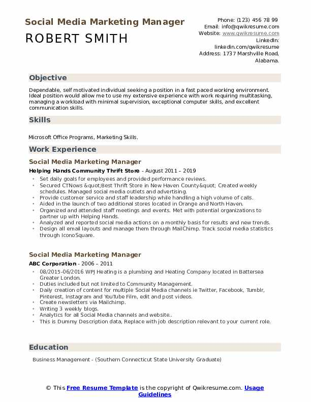 Social Media Marketing Manager Resume example