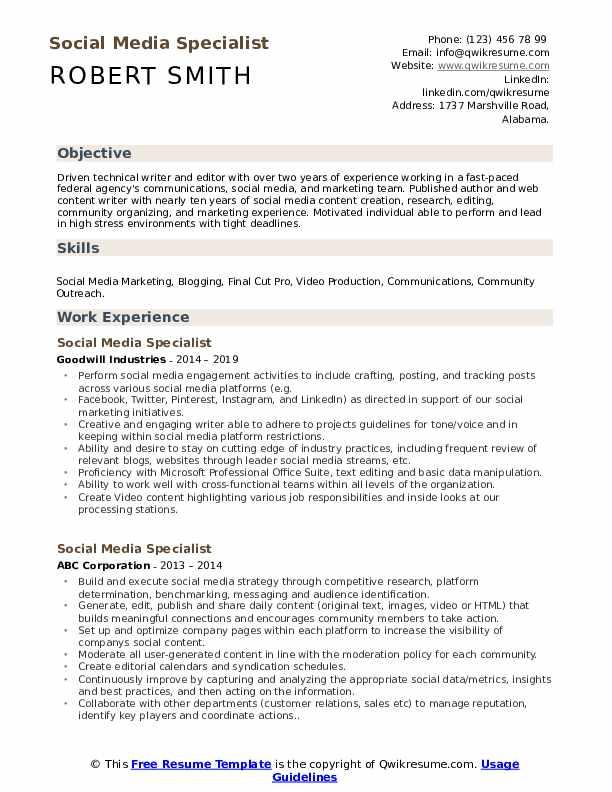 Social Media Specialist Resume Model