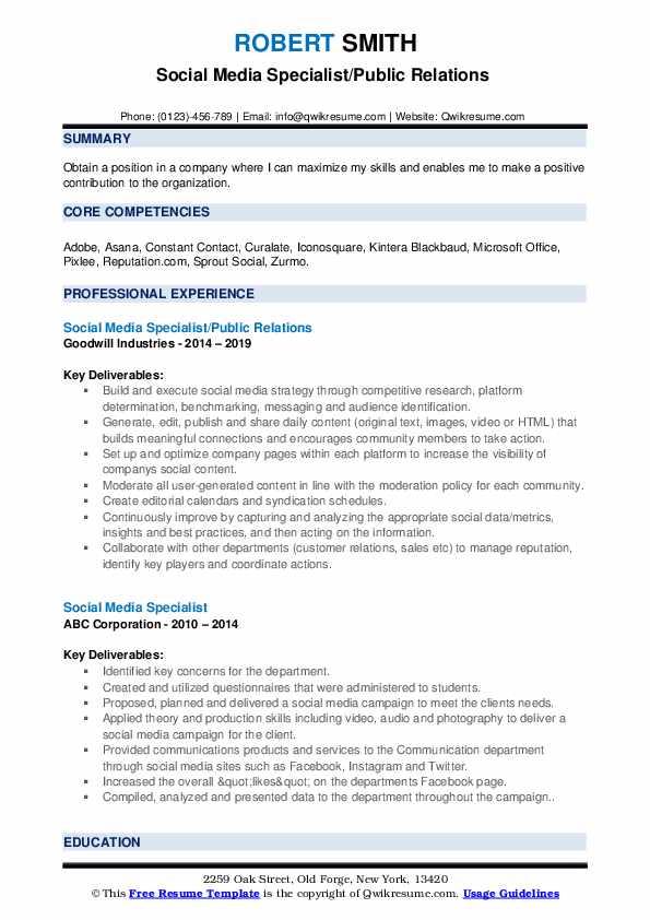 Social Media Specialist/Public Relations  Resume Sample