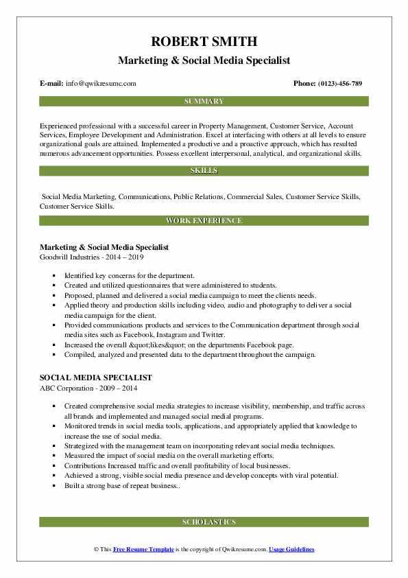 Marketing & Social Media Specialist Resume Template
