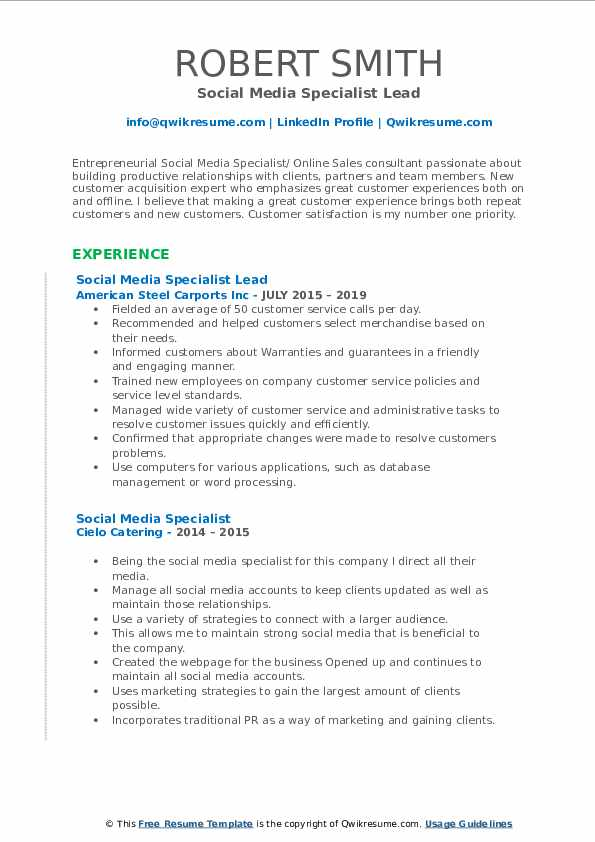Social Media Specialist Lead Resume Model