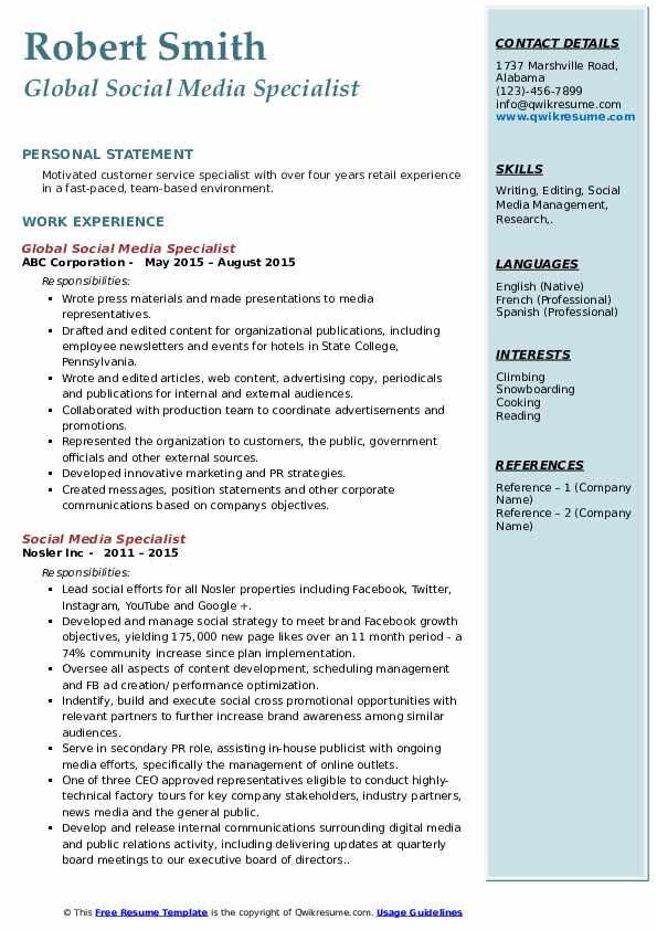 social media specialist resume samples