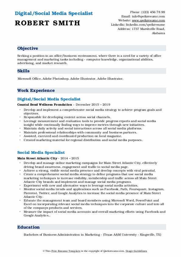 Digital/Social Media Specialist Resume Model