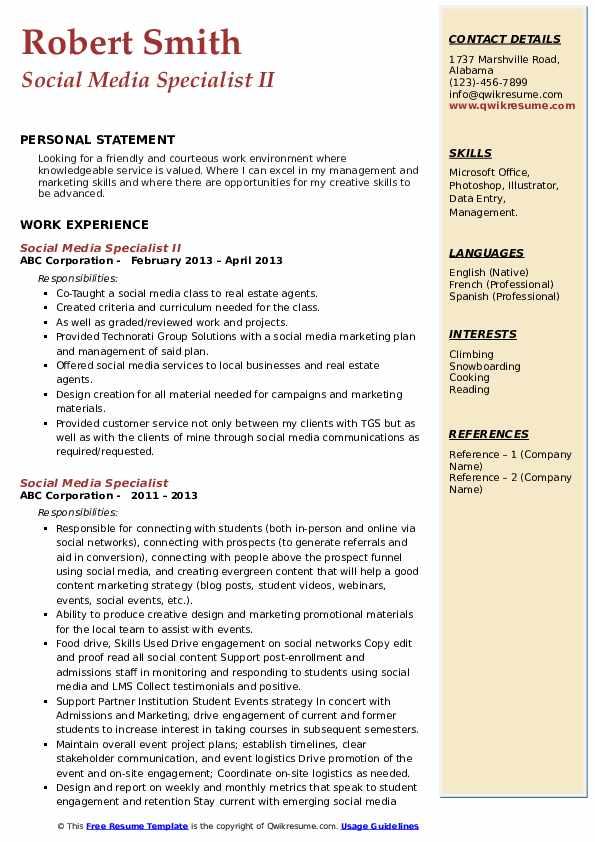 Social Media Specialist II Resume Model