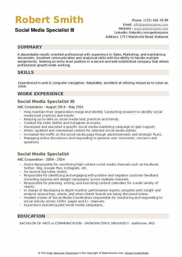 Social Media Specialist III Resume Example