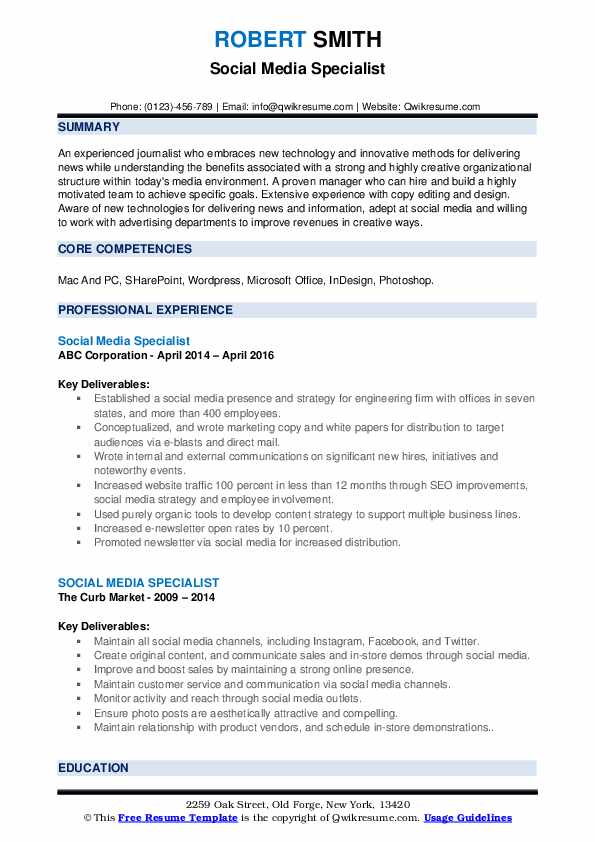 Social Media Specialist Resume example