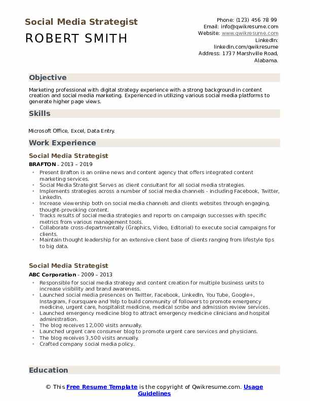 Social Media Strategist Resume Samples Qwikresume