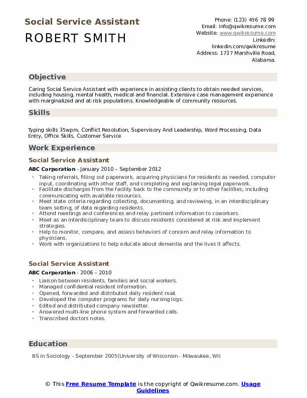Social Service Assistant Resume example