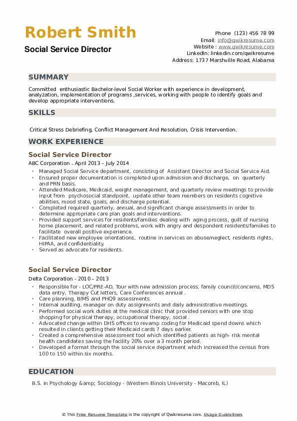 Social Service Director Resume example