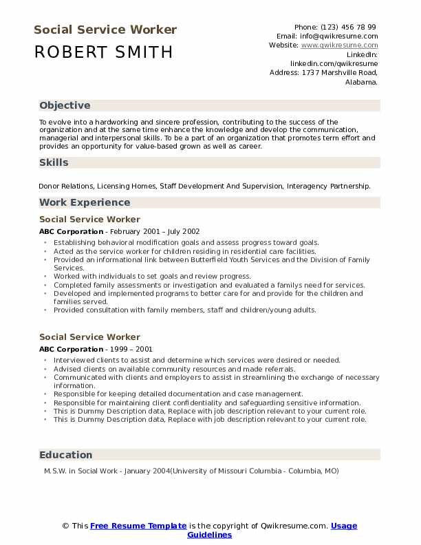 Social Service Worker Resume example