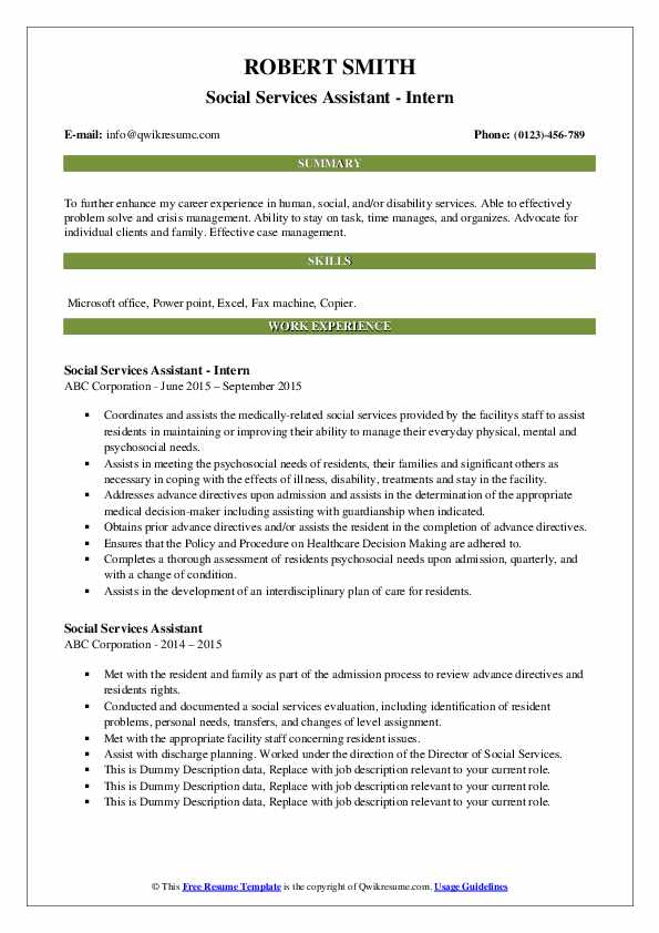 Social Services Assistant - Intern Resume Example