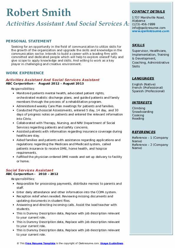 Activities Assistant And Social Services Assistant Resume Sample