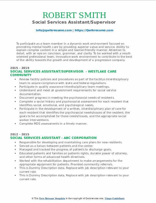 Social Services Assistant/Supervisor  Resume Model