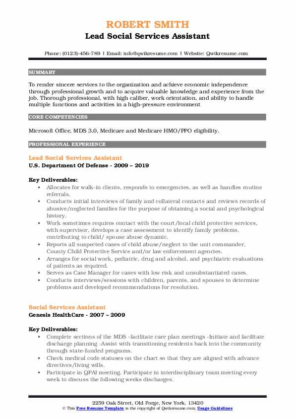 Lead Social Services Assistant Resume Example