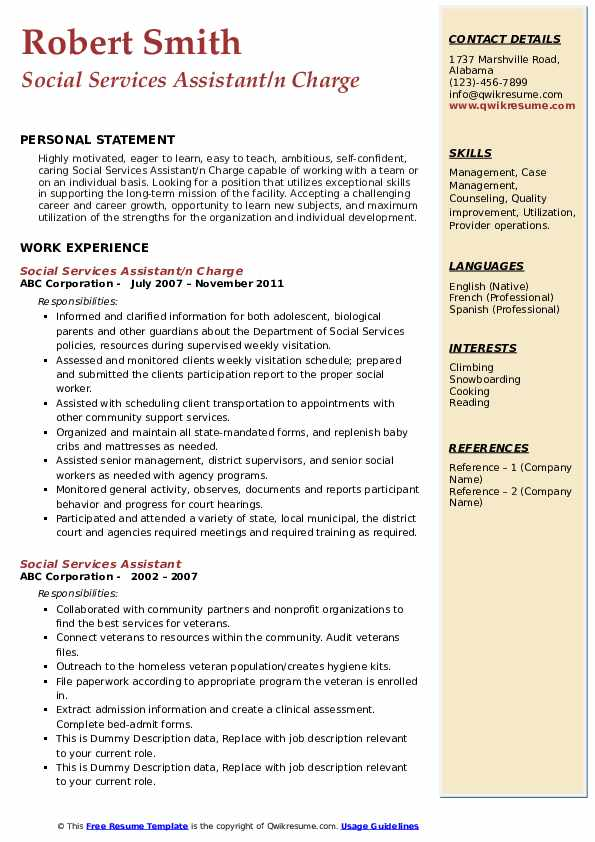 Social Services Assistant/n Charge Resume Model