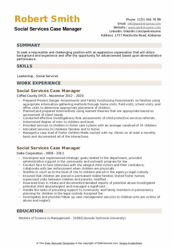 Social Services Case Manager Resume example