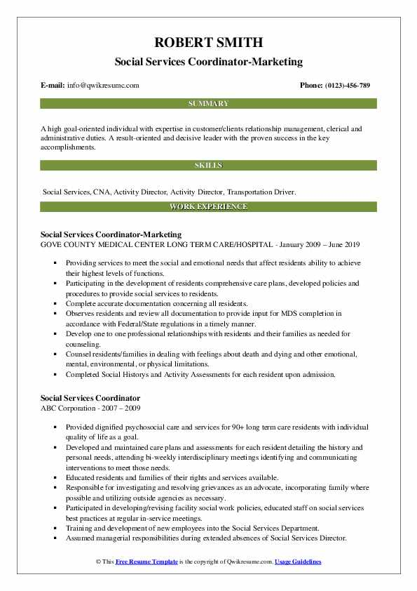 Social Services Coordinator Resume Samples Qwikresume