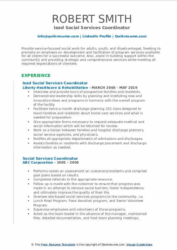 lead Social Services Coordinator Resume Template