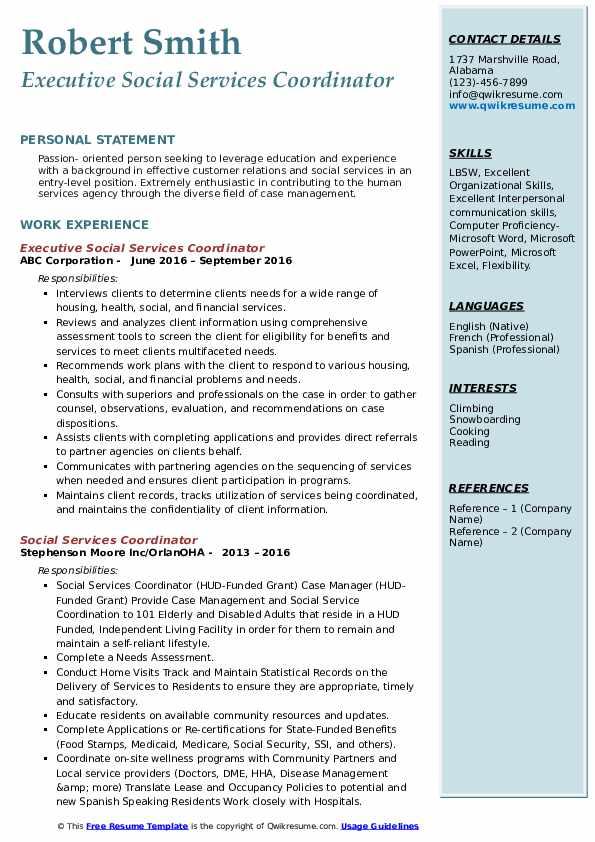 Executive Social Services Coordinator Resume Example