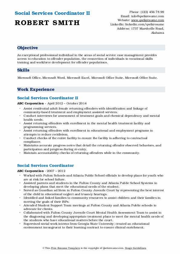 Social Services Coordinator II Resume Example