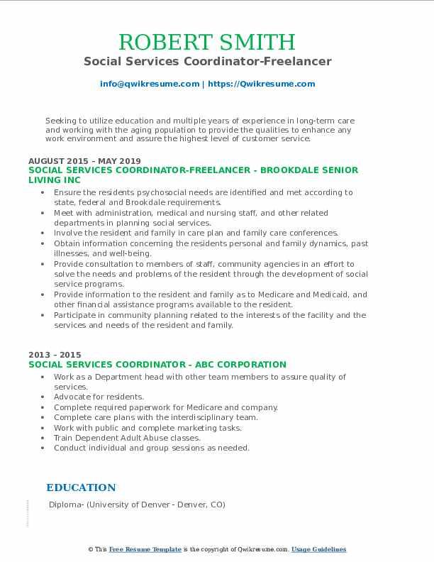 Social Services Coordinator-Freelancer Resume Template