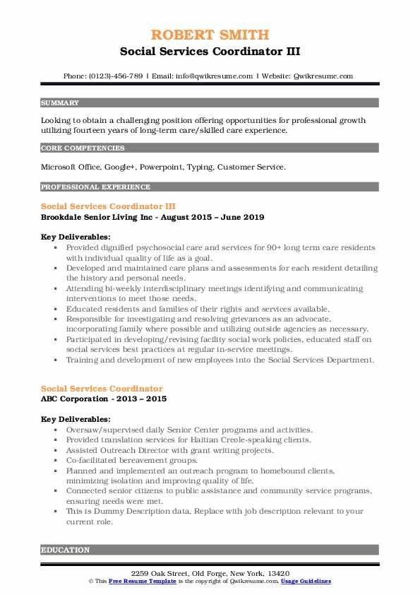 Social Services Coordinator III Resume Sample
