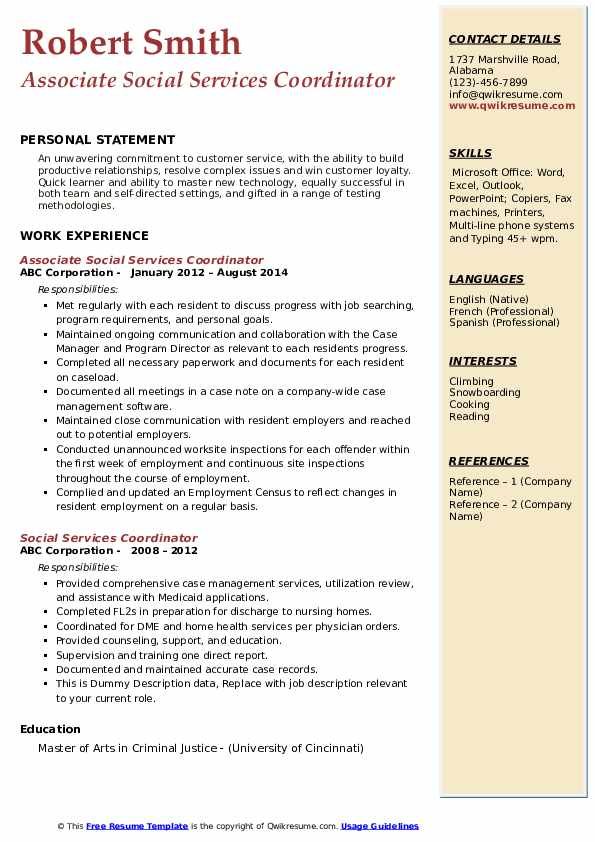 Associate Social Services Coordinator Resume Format